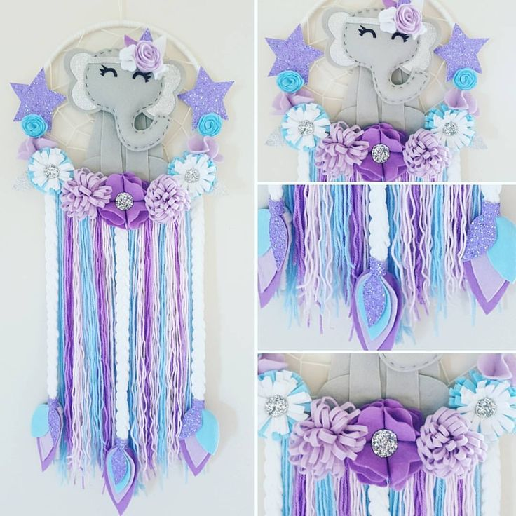 Soft And Elegant Gray And Pink Nursery: Elegant Elephant Dream Catcher🐘 Blue Purple Grey White And