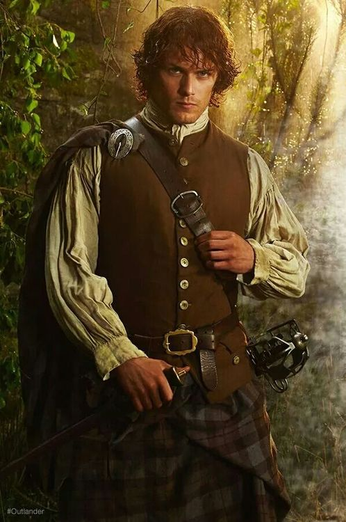 "Sam Heughan as highlander ""Jamie Fraser"""