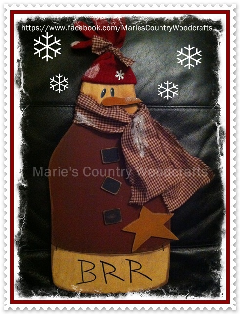 Snowman I cut out and painted  Marie's Country Woodcrafts