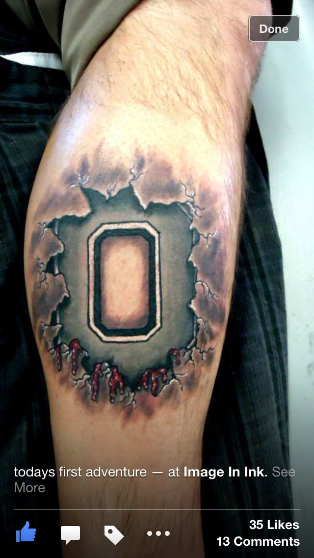 Ohio state 3D tattoo