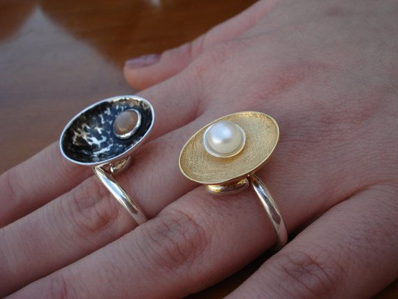 Silver and Stone Ring, Silver Ring with Moonstone, Agate, Pearl, Garnet, Citrine, Onyx