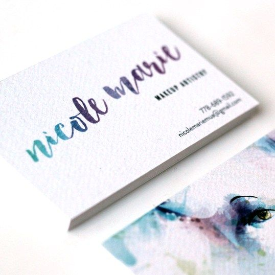 Logo & Business Card Design for Makeup Artist, using watercolor illustration and hand lettered styled logo. By Rosa Pearson Design