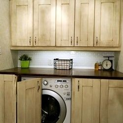 Hide the mess... Lisa from over at Recaptured Charm shows us how to hide what you don't want to accentuate. This laundry room has both function and form...Fluff and fold away!  Curated by Cynthia@AButtonTufted Life