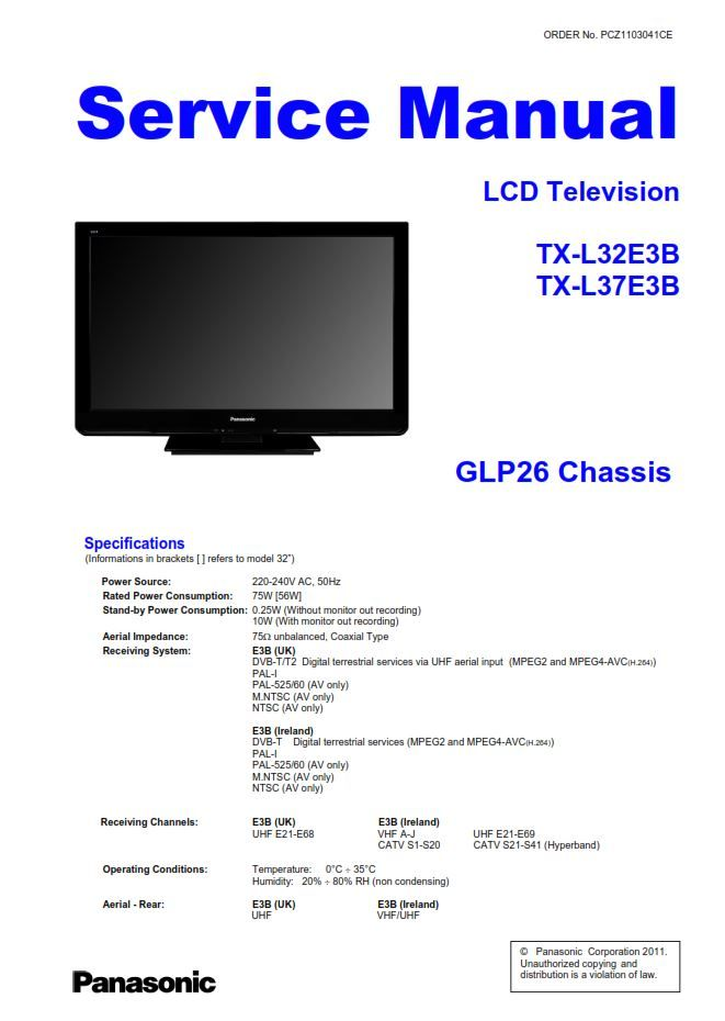 Panasonic Tx L32e3b Lcd Tv Service Manual And Repair Guide Schematics Tv Services Repair Guide Lcd Tv