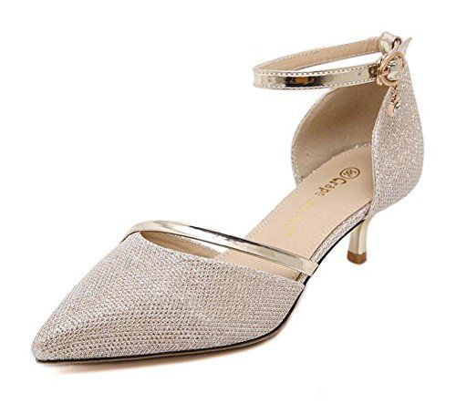 CHFSO Women's stylish Stiletto seem D-orsay Pointed toe of the foot Buckle Ankle Strap Kitten Heel Pumps Shoes