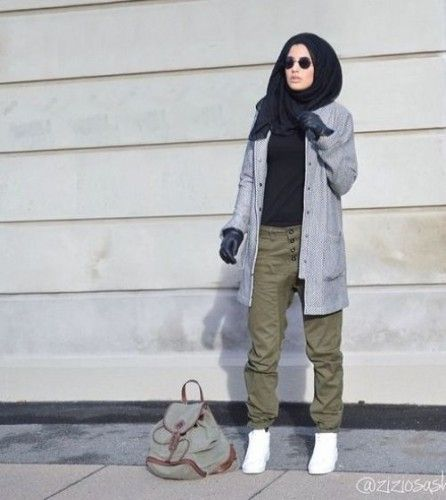 cargo pants hiajb style, Modern Hijab Street styles http://www.justtrendygirls.com/modern-hijab-street-styles/
