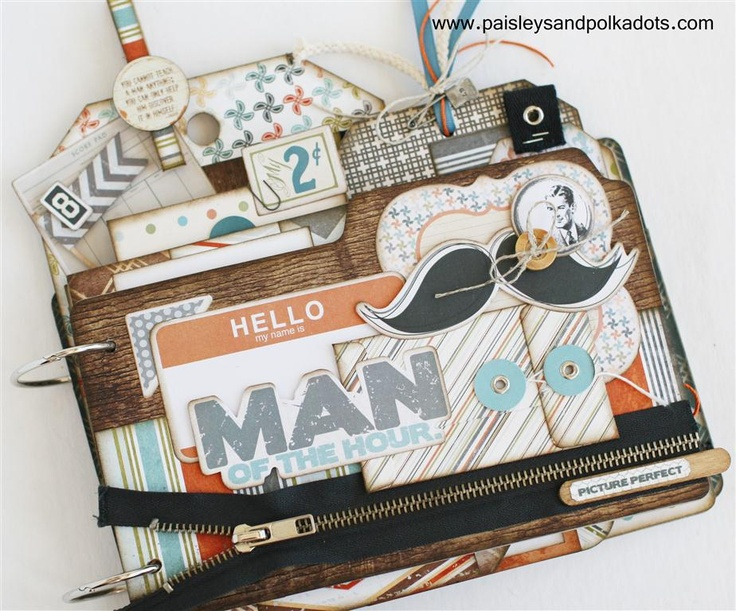 Great fathers day scrapbook mini album or for a masculine graduation  www.paisleysandpolkadots.com   #fancypants #swagger #scrapbooking #minialbums