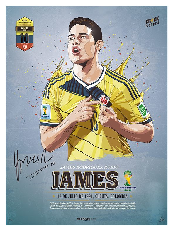 #El10DeMiSelección @jamesdrodriguez - @FCFselecciónCol - STARS WORLD CUP 2014 by Fer, via Behance