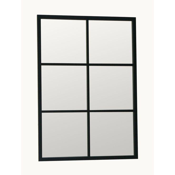 Miroir fenêtre rectangulaire en métal brossé 6 carreaux 70x100cm TEKE