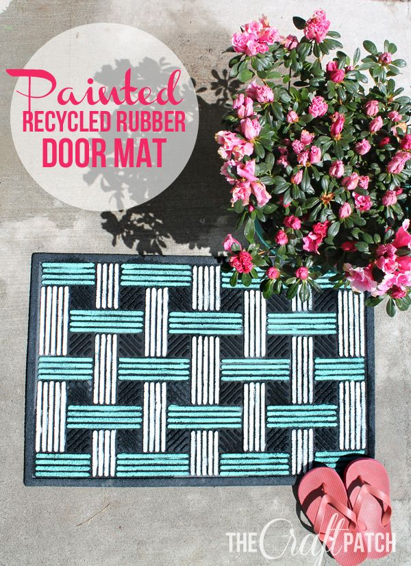 Give an old rubber door mat new life with paint! This is so cute!