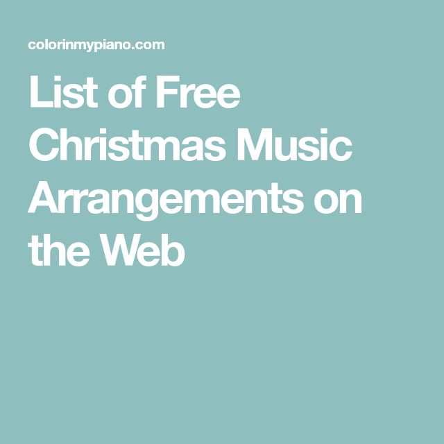 List of Free Christmas Music Arrangements on the Web