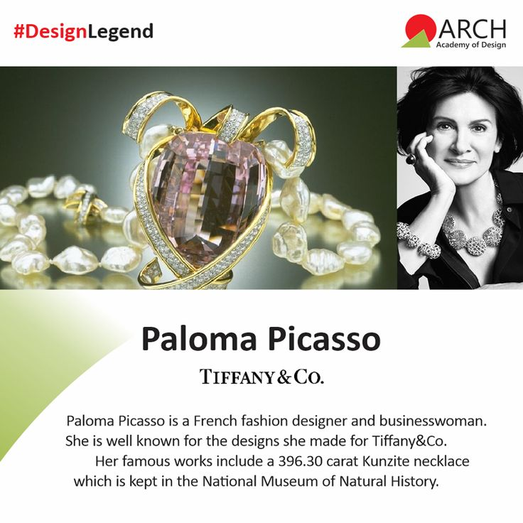 "Paloma Picasso is a designer who is well known for the jewelry designs she made for Tiffany&Co. Her famous works include a 396.30 carat Kunzite necklace which is a part of the National Museum of Natural History's permanent collection. The Field Museum of Natural History in Chicago showcases her 408.63-carat moonstone bracelet accented with diamond ""lightning bolts #ArchAcademyofDesign #DesignLegends"