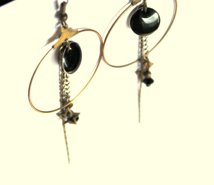 Boucles d'oreilles Créoles laiton et noir sequin et étoile 2