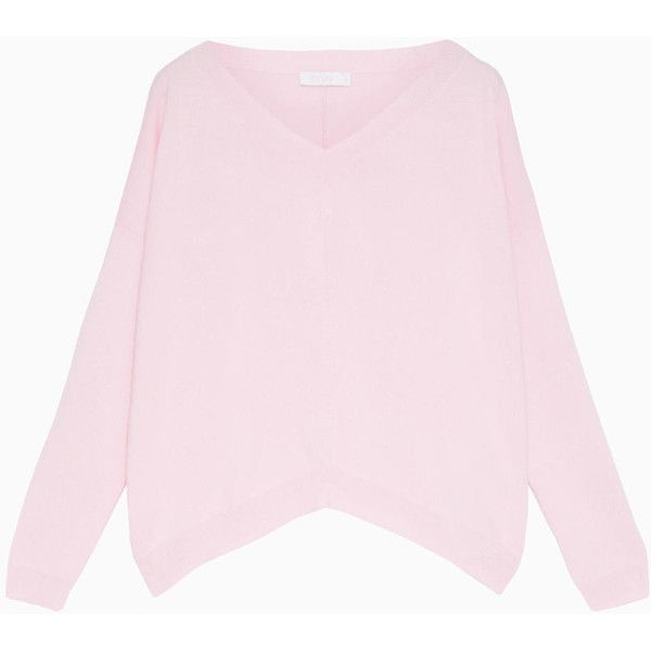 MAX&Co. Oversized cashmere sweater (18,815 INR) ❤ liked on Polyvore featuring tops, sweaters, pink, pink long sleeve top, cashmere sweater, pink sweater, pink top and v neck long sleeve top