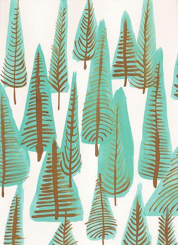 pine trees -christmas kids art project