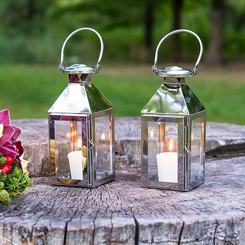 Stainless Steel Outdoor Candle Lanterns. Perfect for outdoor weddings!