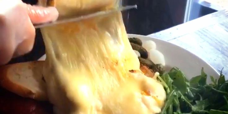 """""""It's a wheel of gooey, melty cheese."""" Raclette Restaurant NYC - Cheese lovers dream"""