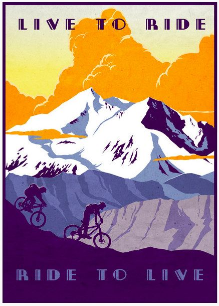 "#Vintage retro mountain bike illustration poster print. ""Live to Ride, Ride to Live"""