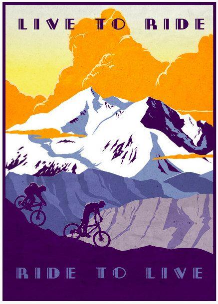 "#Vintage retro mountain bike illustration poster print. ""Live to Ride, Ride to Live"""