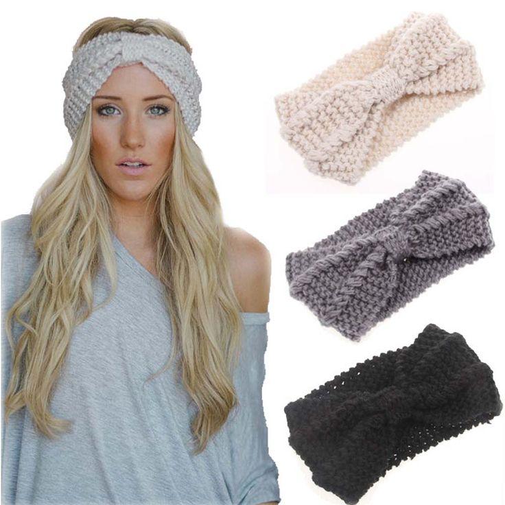 Winter Warmer Ear Knitted Headband Turban For Lady Women Crochet Bow Stretch Hairband Headwrap Hair Accessories  Price: 1.57 USD