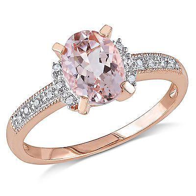 Rosa de ouro sotaque piscou Prata Diamante cluster Anel Morganita 1,22 ct G-H i2-i3