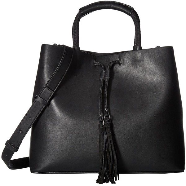 French Connection Alana Tote (Black) Tote Handbags ($118) via Polyvore featuring bags, handbags, tote bags, drawstring handbags, drawstring purse, drawstring tote bags, tote purses and french connection handbags
