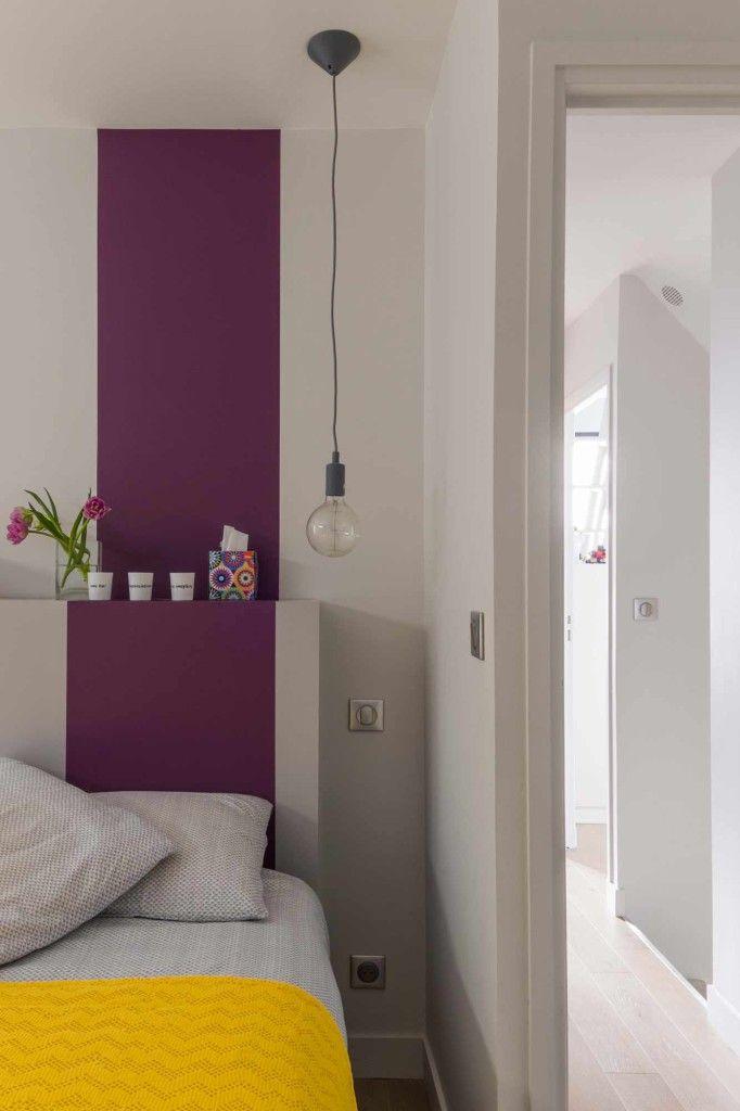 Une chambre dans l'air du temps, tête de lit sur-mesure, déco graphique, suspension, réalisation agence Murs & Merveilles I www.mursetmerveilles.fr