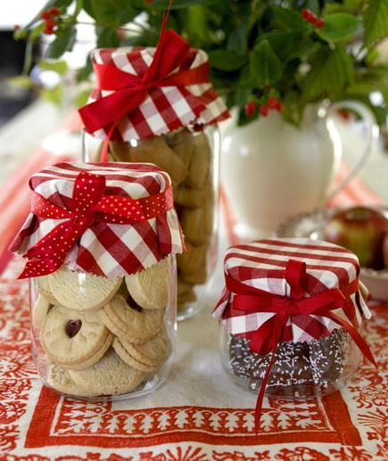 Fill plain Mason jars with homemade treats and top with festive fabric or paper.