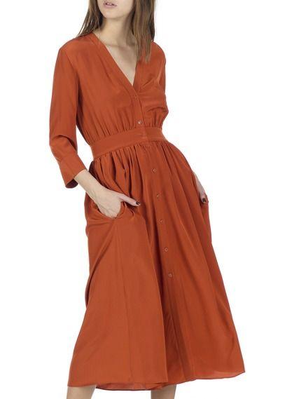 Robe longue décolletée en soie Rouge by VANESSA BRUNO