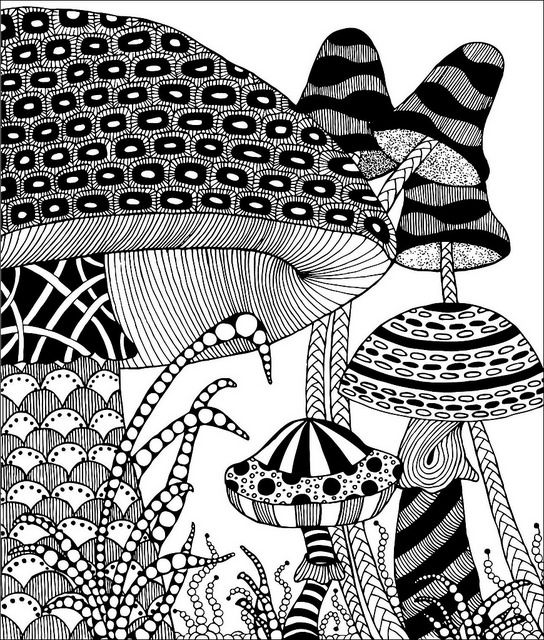 ZENTANGLE MUSHROOMS, FREE download @ Flickr - Photo Sharing!