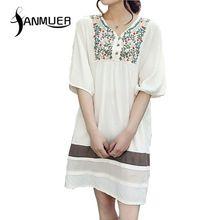 Mulheres vestido de verão 2016 moda bordado meia manga O pescoço acima do joelho, Mini Patchwork mulheres vestido Vestidos(China (Mainland))