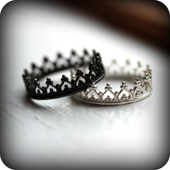 black and white crown rings