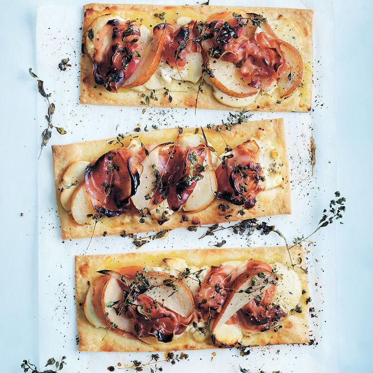 Donna Hay's geitenkaas, peer en pancetta Tarts
