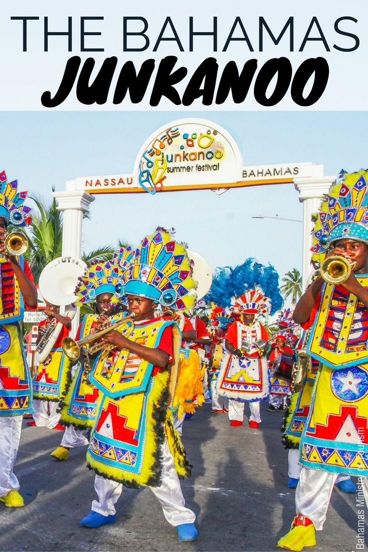 Junkanoo Bahamas, is the ultimate Junkanoo carnival party in the Caribbean to rival the Rio Carnival. Junkano Bahamas style features brightly coloured Junkanoo costumes. The junkano parade happens next to Junkanoo Beach at Arawak Cay (Fish Fry) on the edge of downtown Nassau Bahamas. Junkanoo Bahamas is one of our top recommendations for things to do in Bahamas. Junkanoo is in July (every Saturday night), independence Day Parade and on Boxing Day, New Years Eve in December.