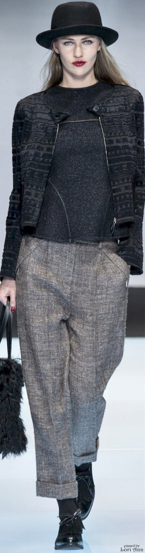 Giorgio Armani from Menswear Fall 2016 women fashion outfit clothing style apparel @roressclothes closet ideas