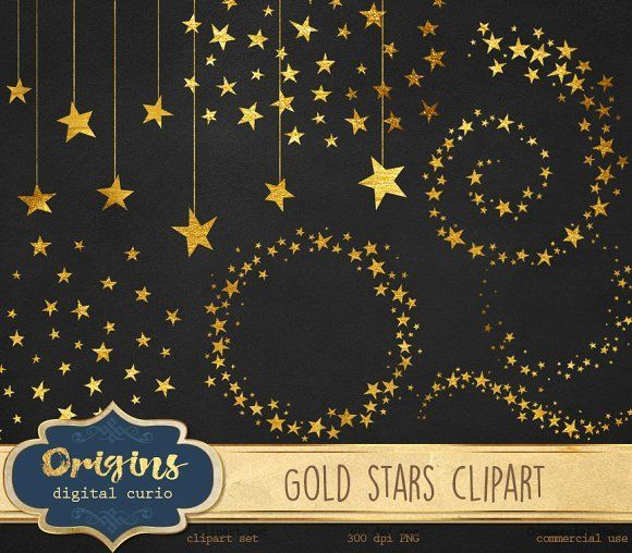 Gold Stars Clipart by Origins Digital Curio on @creativemarket
