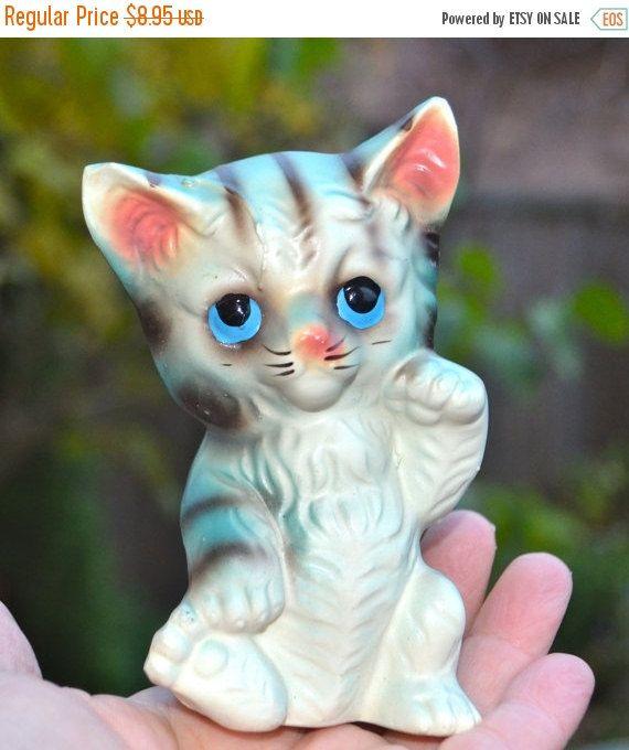 "ON SALE VALENTINE Cat Figurine Vintage Porcelain Cat Marked ""Japan"" blue with black stripes and pink ears. by StudioVintage on Etsy"