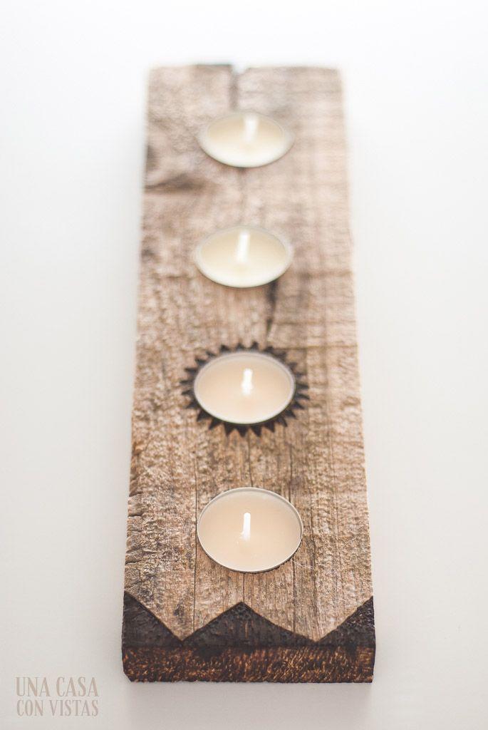 Porta velas de madera hecho a mano | Hand made wood candle holder