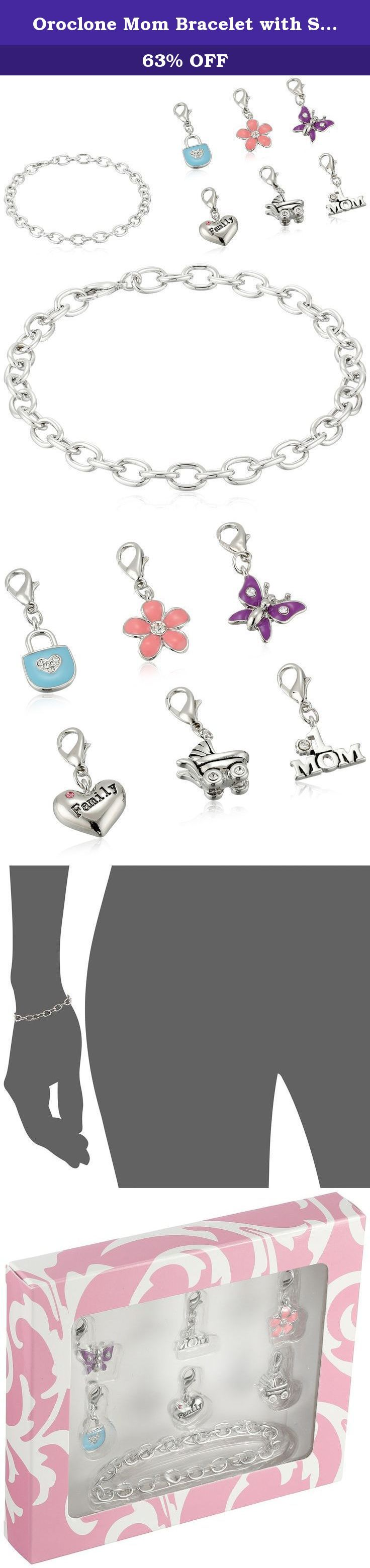 Oroclone Mom Bracelet with Six Clasp-Style Charms. Silve-tone charm bracelet featuring six family-oriented charms with lobster-claw clasps. Made in South Korea.