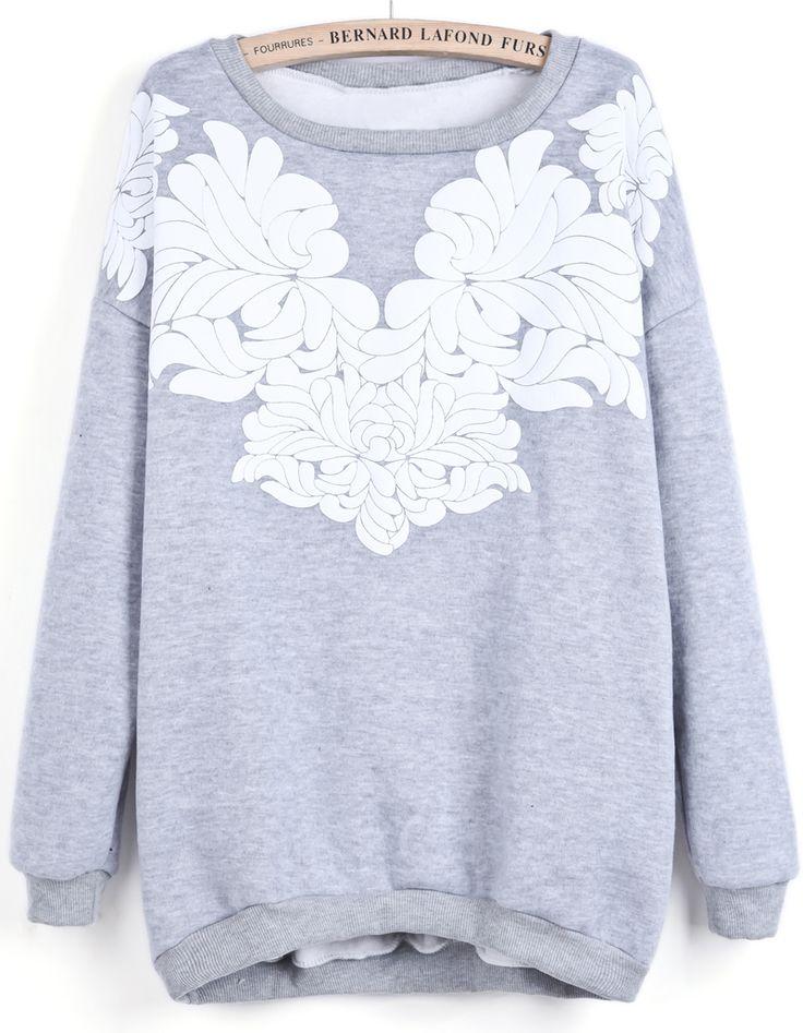 Sweat-shirt à imprimé floral au col rond -gris