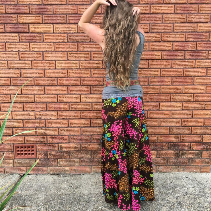 70's Cotton Palazzo Pants, Chocolate Brown, Neon Flowers, High Waist, Size S/M Small-Med by HappyWandererVintage on Etsy https://www.etsy.com/au/listing/270771833/70s-cotton-palazzo-pants-chocolate-brown