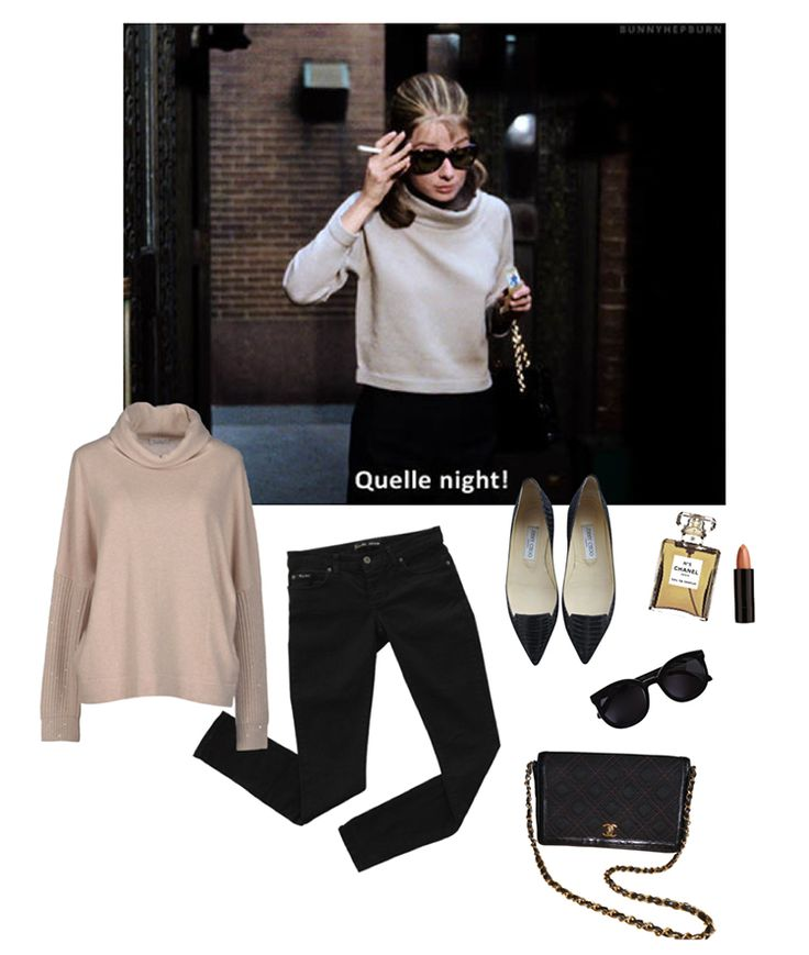 cashmere sweater, black jeans, jimmy choo shoes
