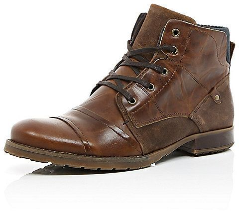 $60, Brown Leather Boots: River Island Dark Brown Leather Contrast Military Boots. Sold by River Island. Click for more info: https://lookastic.com/men/shop_items/286695/redirect