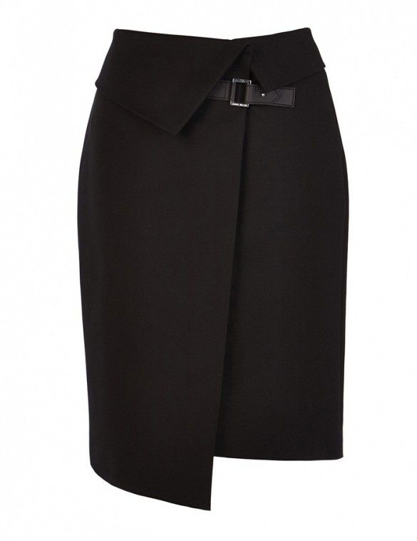Wear this gorgeous buckled skirt to the office with a printed button-up and bright-hued heels // Karen Miller Asymmetric Wrap Skirt