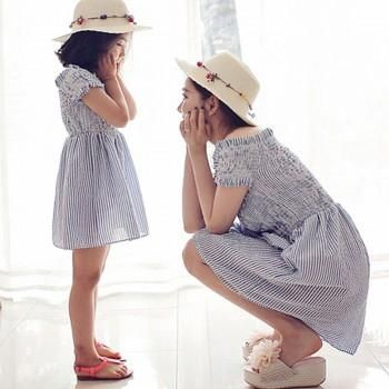 Off Shoulder Ruffled and Striped Mom and Me Dress in Blue