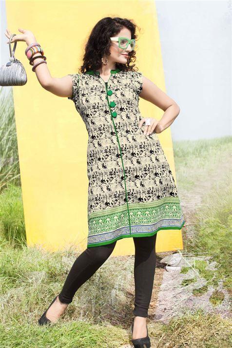 Mesmeric Cream, Black, Green Cotton Stylish Kurti