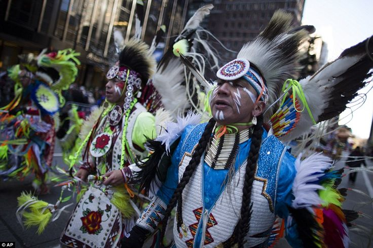 An American holiday: Members of the Oneida Nation of New York march in the parade. The American tradition of Thanksgiving dates back to the ...