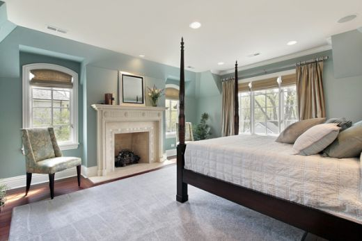 I like this wall color around the four poster bed bedroom