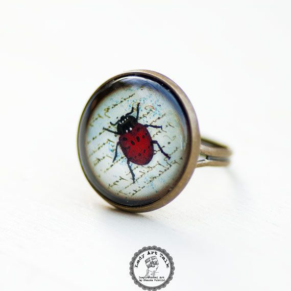 Lady Bug Ring, Insect Ring, Adjustable Ring, Glass Ring, Picture Ring, Good Luck Jewelry, Photo Jewelry, Vintage Image, Red Beetle Jewelry