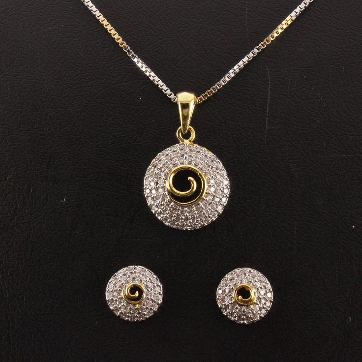 20 best pendant sets images on pinterest pendant set white designer pendant set cz white stone studdedwith earring 2 nos gold with mozeypictures Gallery